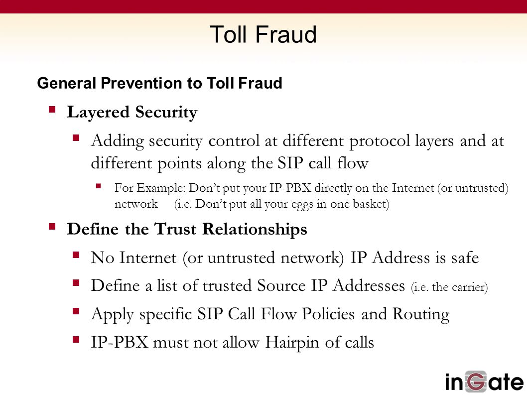 Toll Fraud Layered Security
