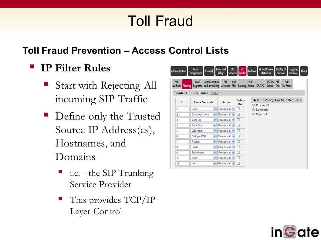 Toll Fraud IP Filter Rules