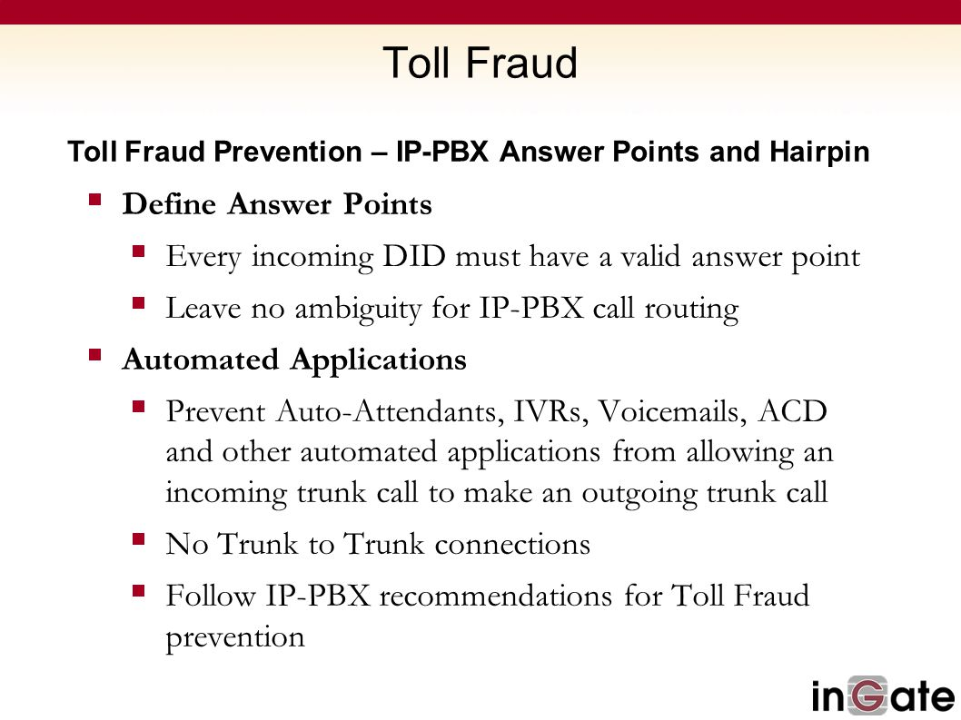 Toll Fraud Define Answer Points