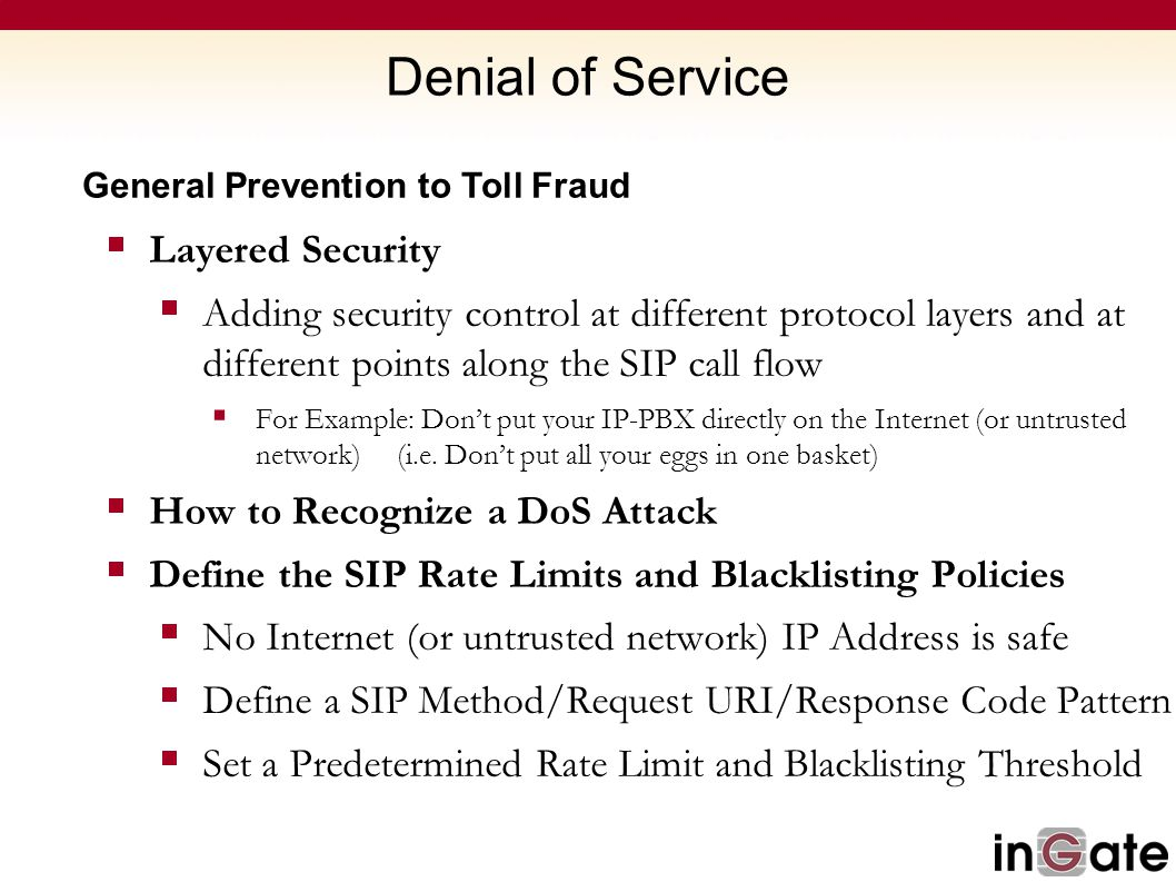 Denial of Service Layered Security