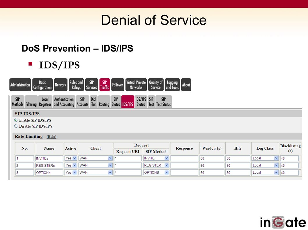Denial of Service DoS Prevention – IDS/IPS IDS/IPS