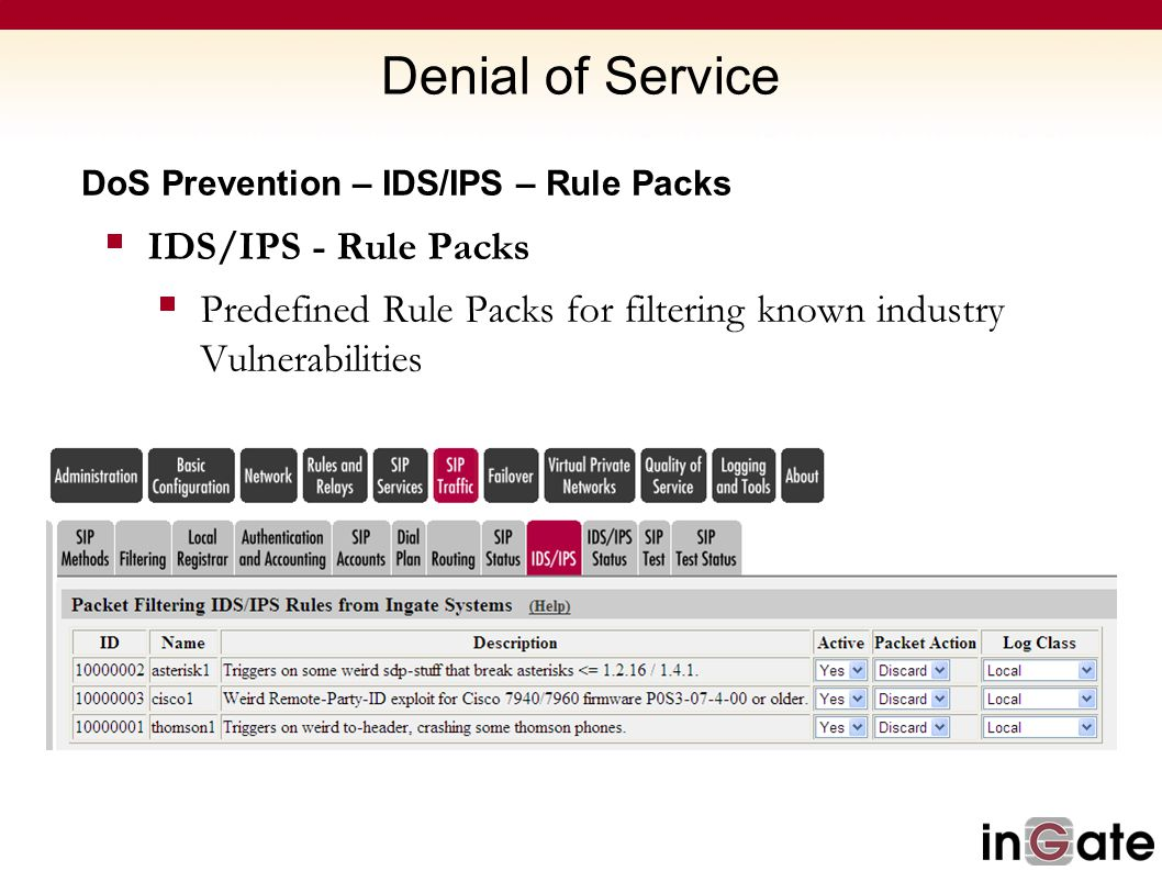 Denial of Service IDS/IPS - Rule Packs