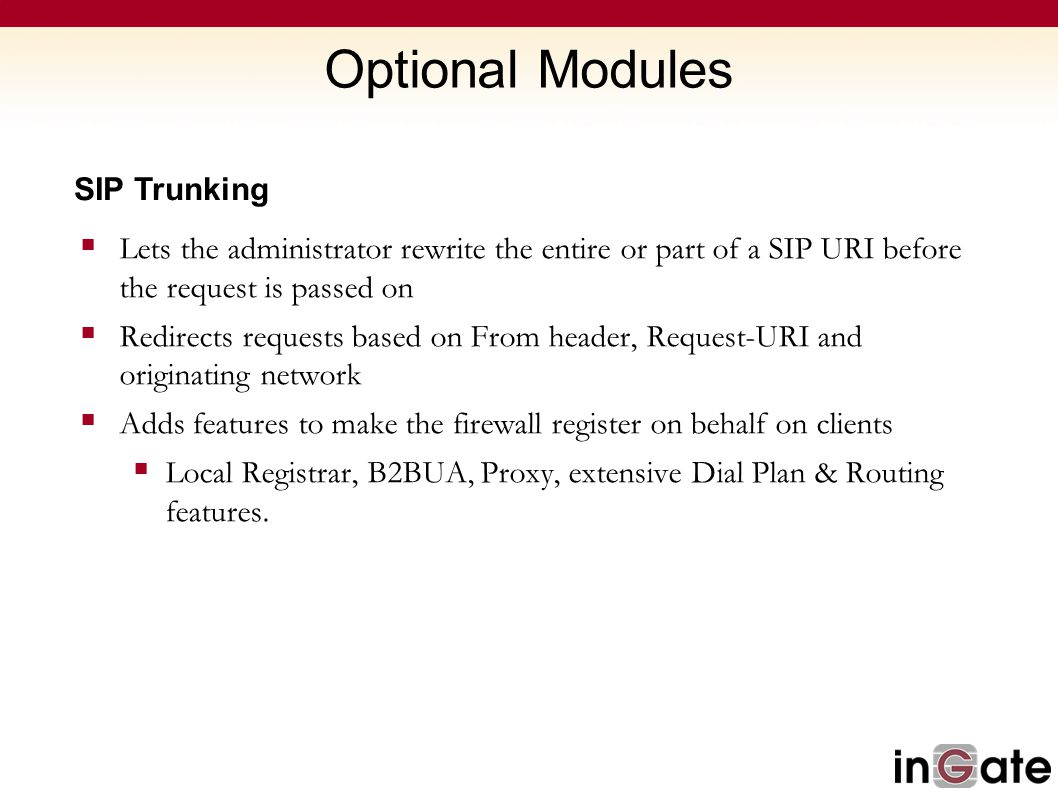 Optional Modules SIP Trunking