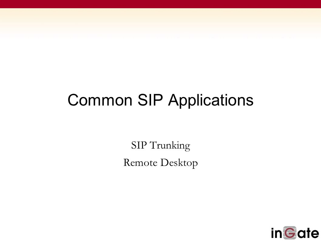 Common SIP Applications