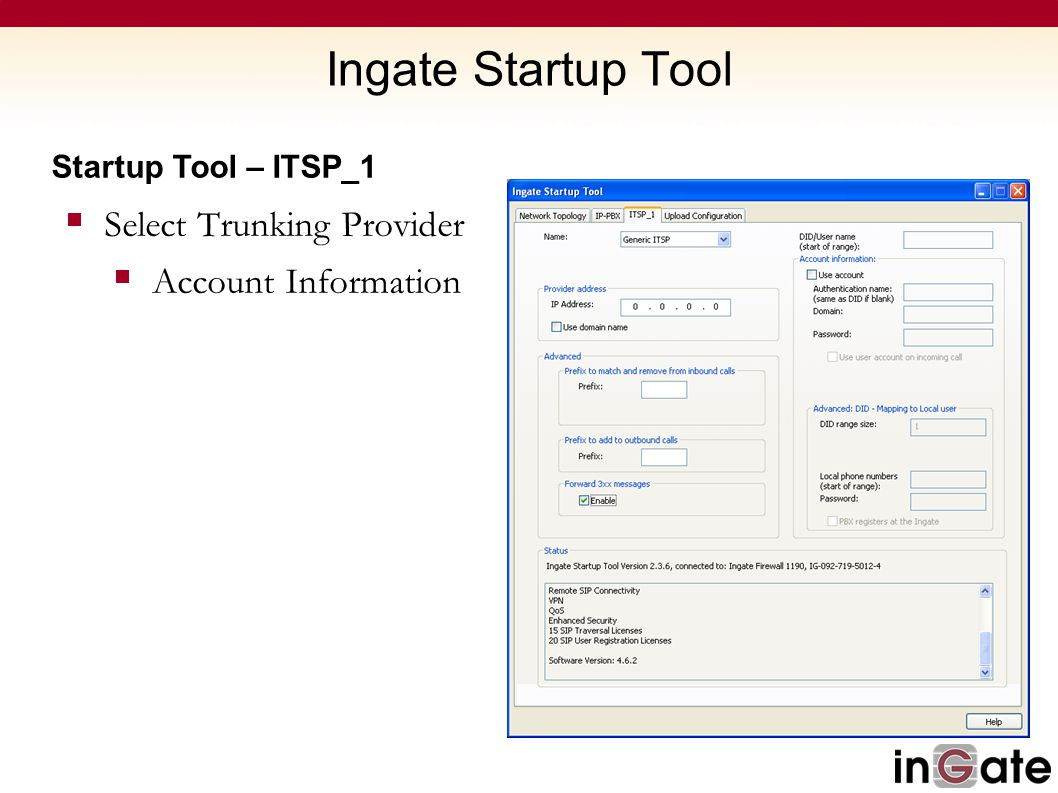 Ingate Startup Tool Select Trunking Provider Account Information