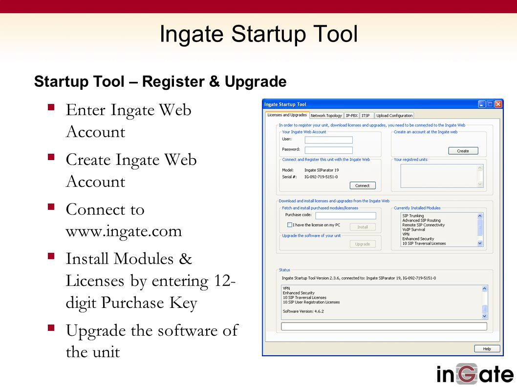 Ingate Startup Tool Enter Ingate Web Account Create Ingate Web Account