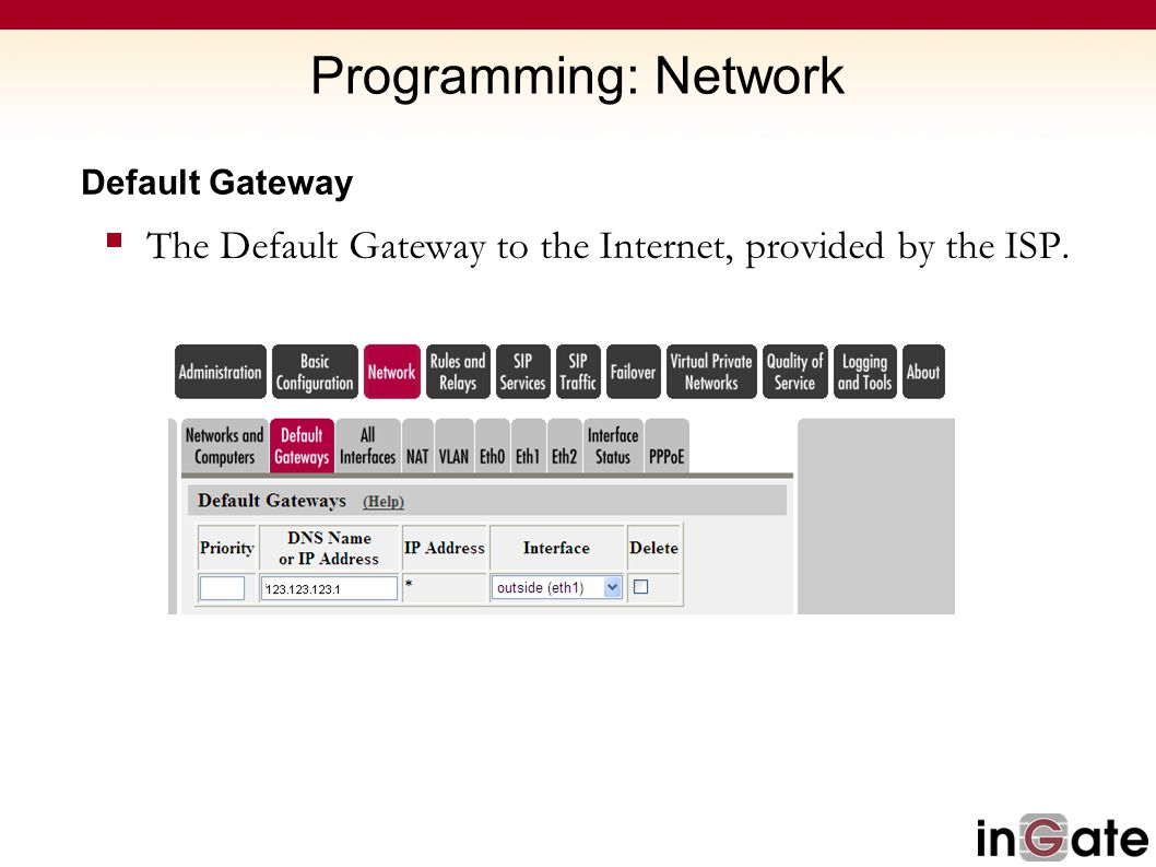 Programming: Network Default Gateway The Default Gateway to the Internet, provided by the ISP.