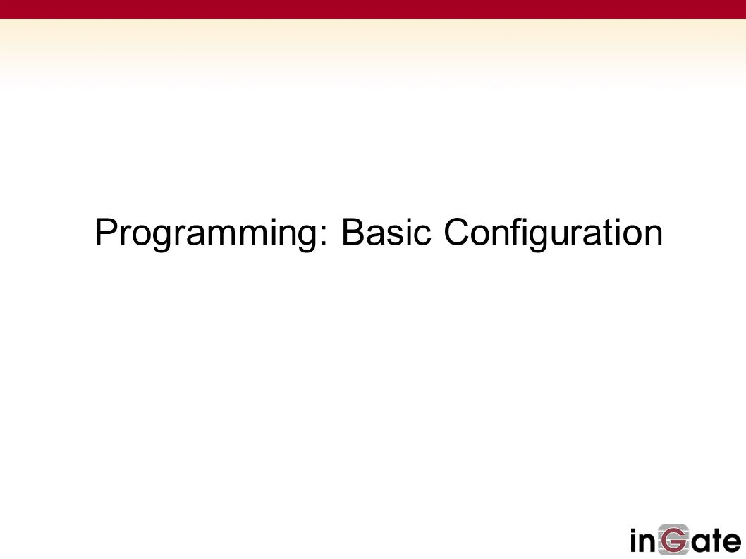 Programming: Basic Configuration
