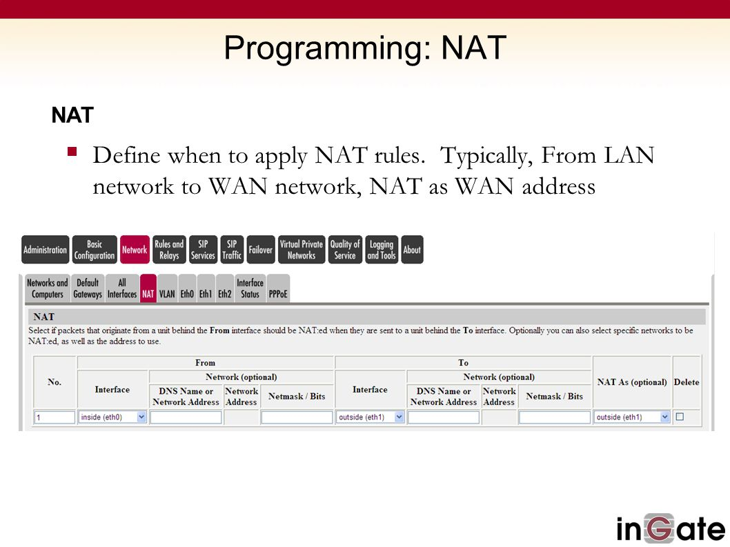 Programming: NAT NAT. Define when to apply NAT rules.