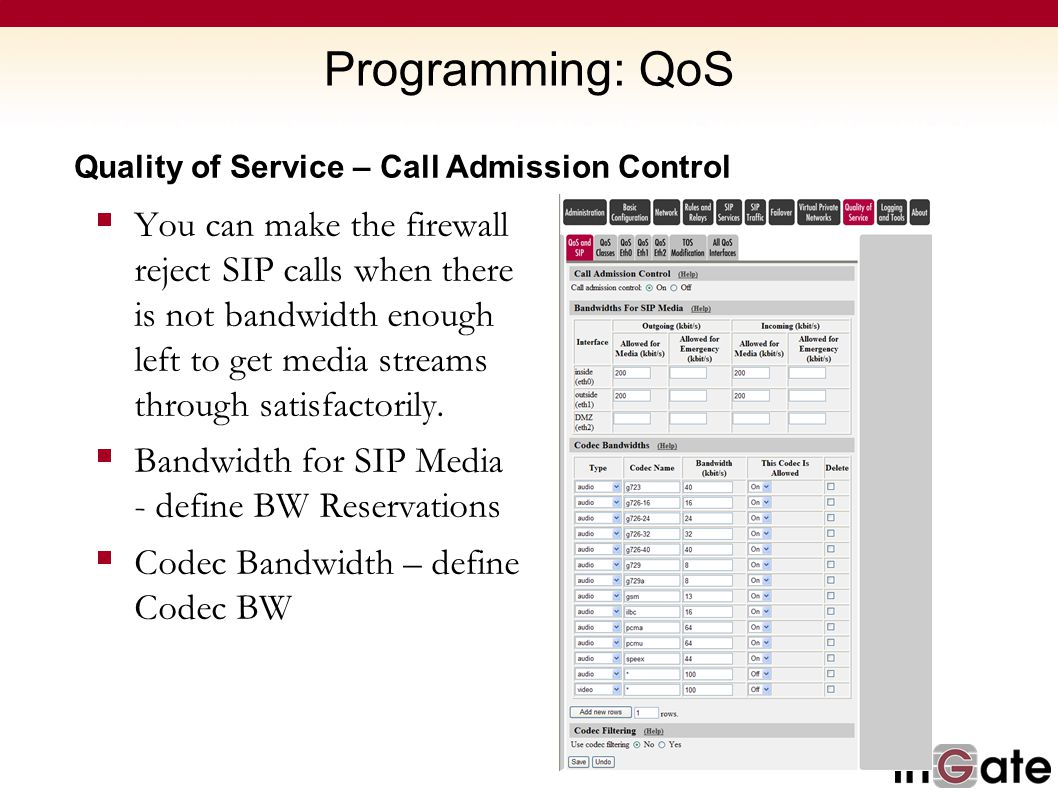 Programming: QoS Quality of Service – Call Admission Control.