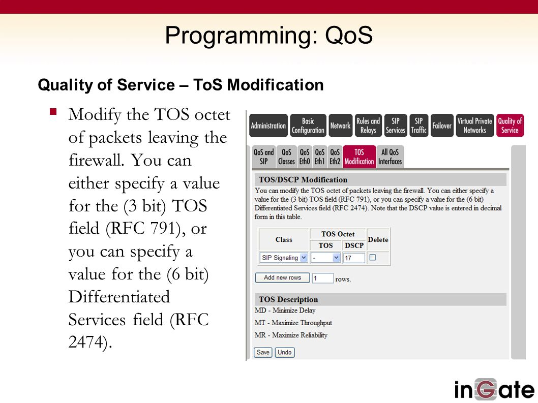Programming: QoS Quality of Service – ToS Modification.