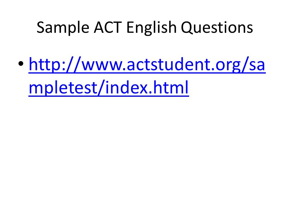 Sample ACT English Questions