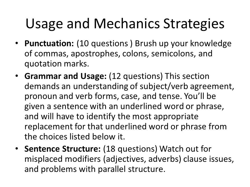 Usage and Mechanics Strategies