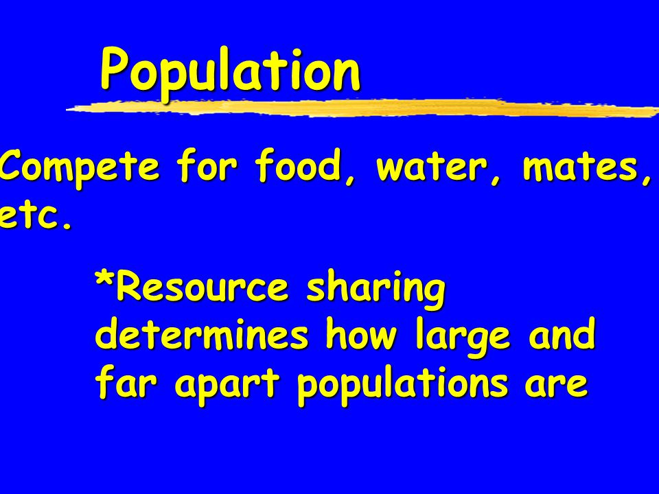 Population Compete for food, water, mates, etc.