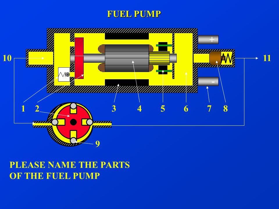 FUEL PUMP + - 10. 11. 1 2 3 4 5 6 7 8.
