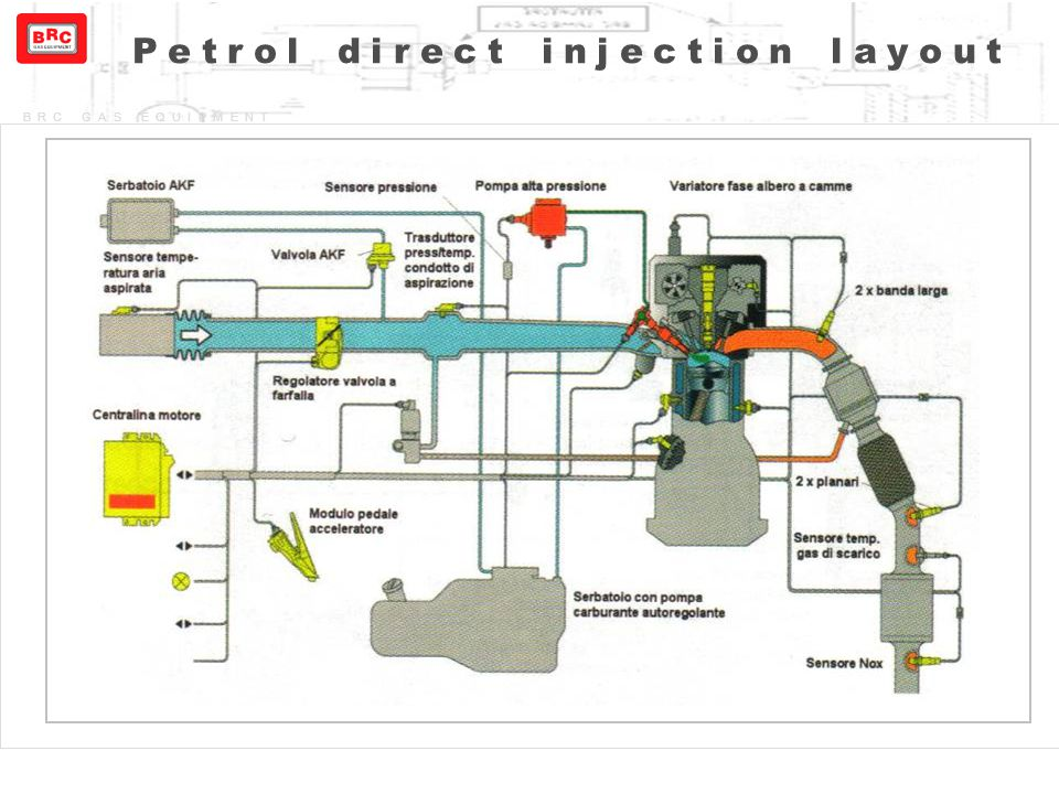 Petrol direct injection layout