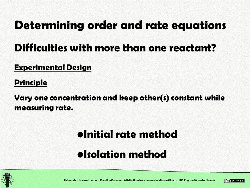 Determining order and rate equations