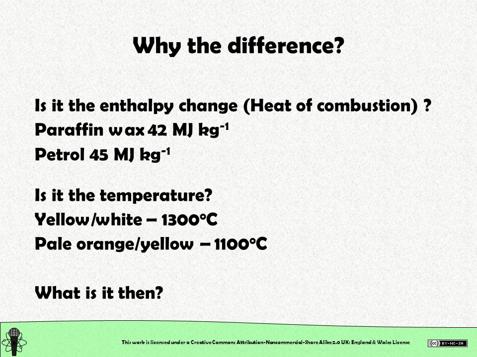 Why the difference Is it the enthalpy change (Heat of combustion)