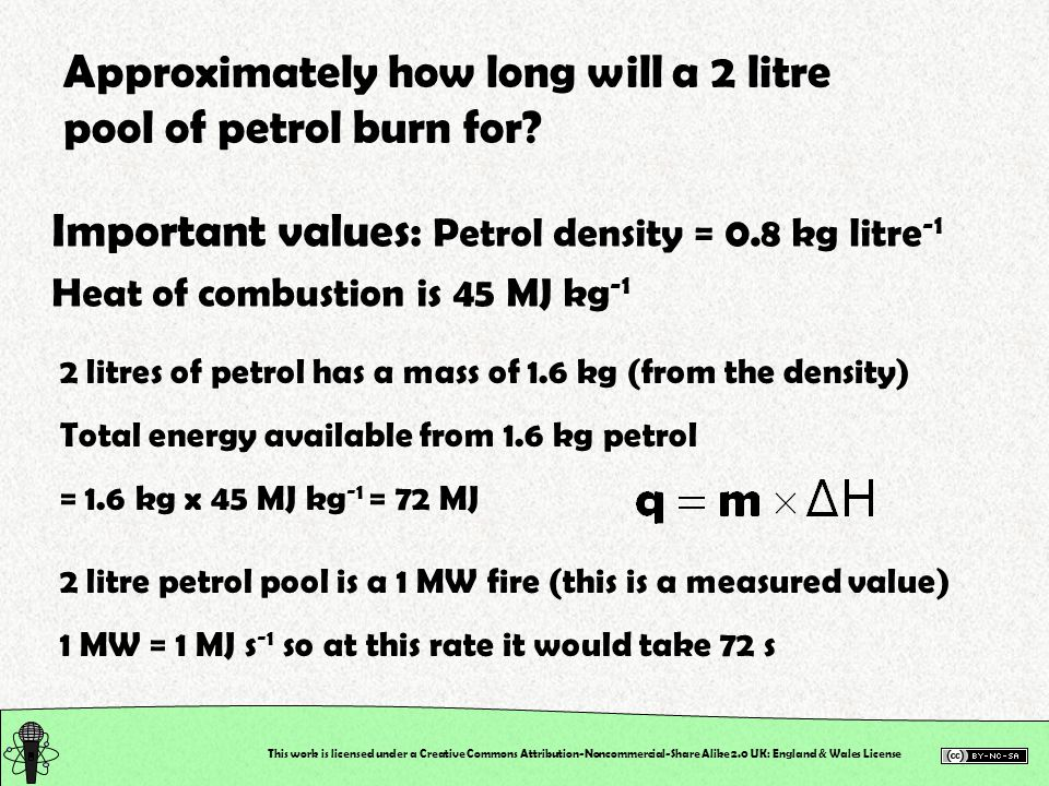 Approximately how long will a 2 litre pool of petrol burn for