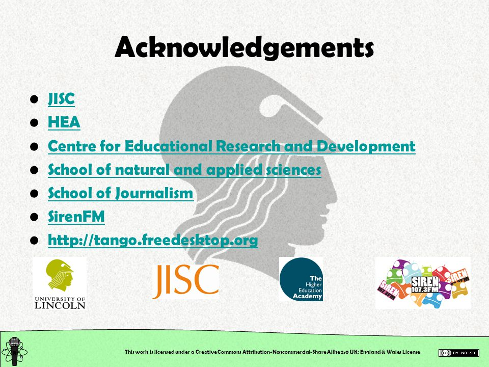 Acknowledgements JISC HEA