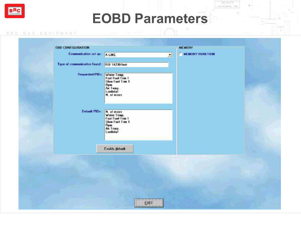 EOBD Parameters I PID di Default sono quei parametri OBD che la centralina Benzina può offrire.
