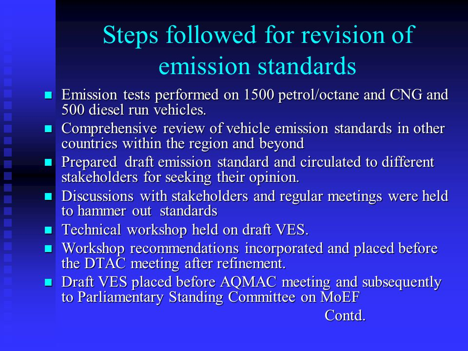 Steps followed for revision of emission standards