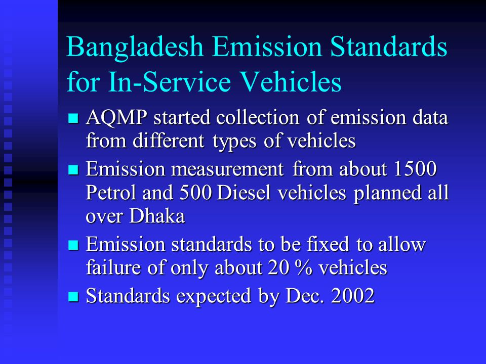 Bangladesh Emission Standards for In-Service Vehicles