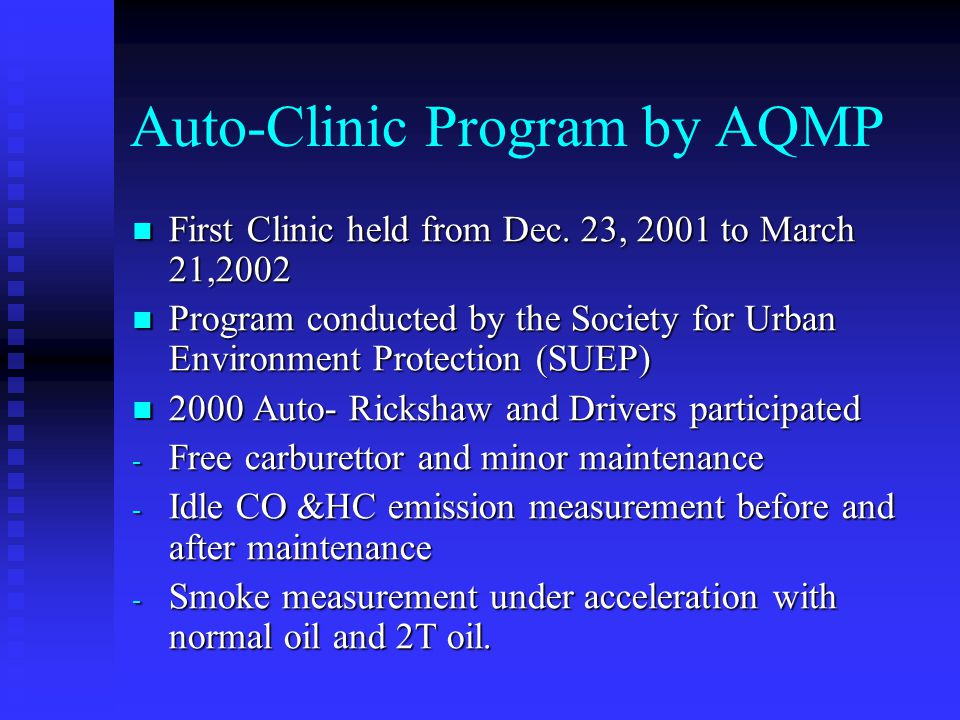 Auto-Clinic Program by AQMP