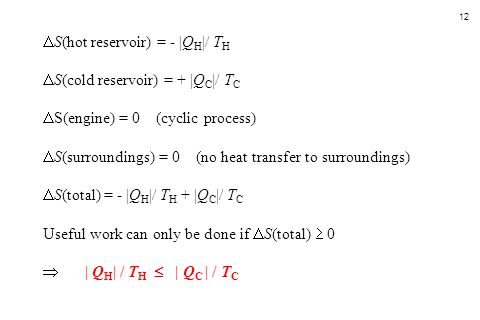 S(hot reservoir) = - |QH|/ TH