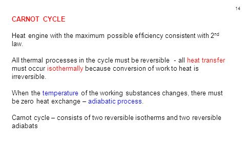 CARNOT CYCLE Heat engine with the maximum possible efficiency consistent with 2nd law.