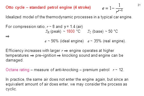 Otto cycle – standard petrol engine (4 stroke)