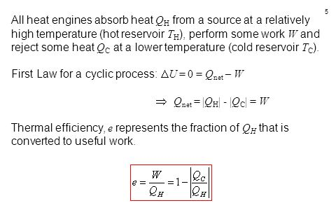 All heat engines absorb heat QH from a source at a relatively high temperature (hot reservoir TH), perform some work W and reject some heat QC at a lower temperature (cold reservoir TC).