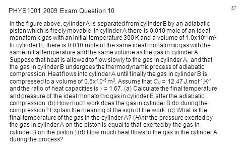 PHYS1001 2009 Exam Question 10