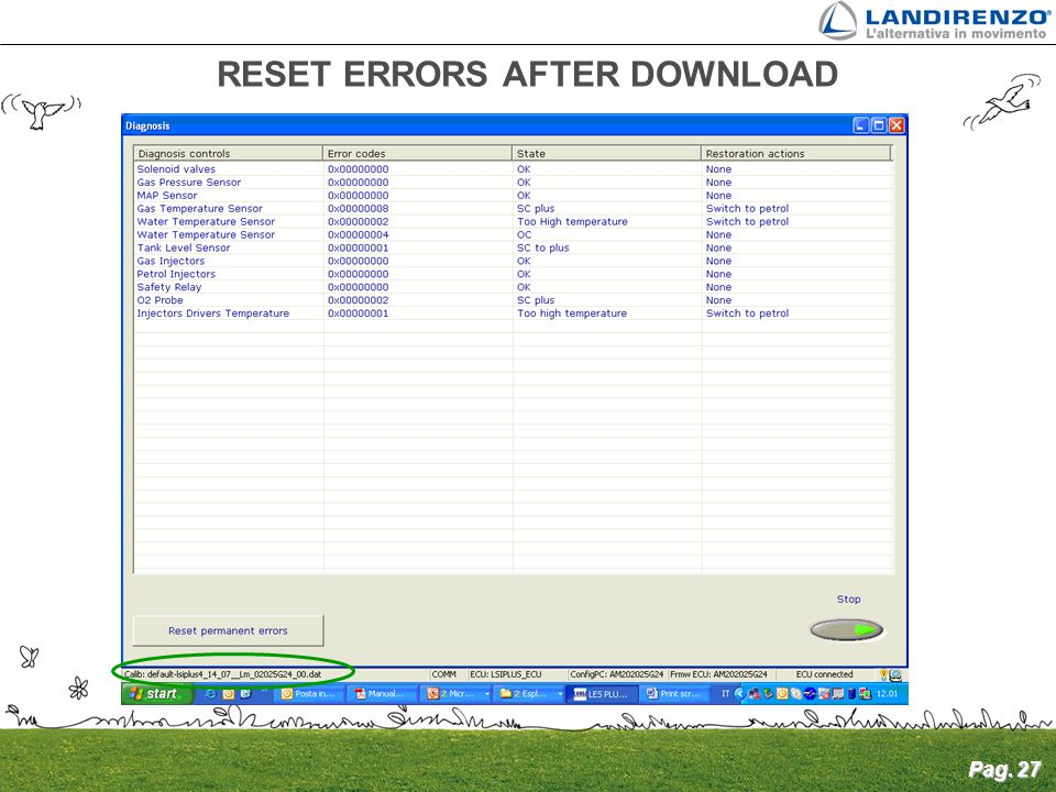 RESET ERRORS AFTER DOWNLOAD