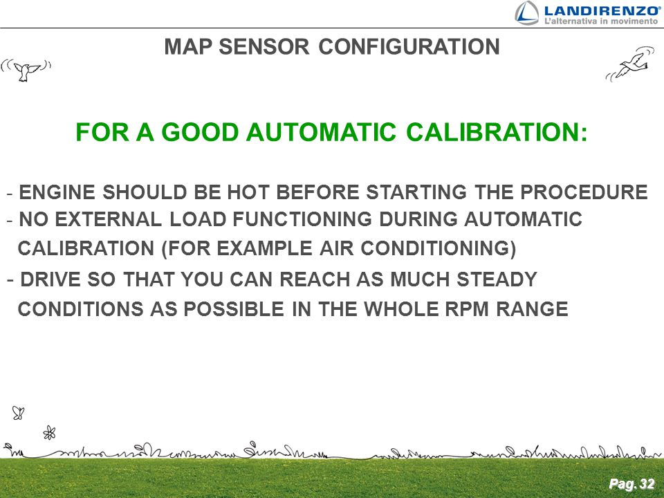 MAP SENSOR CONFIGURATION FOR A GOOD AUTOMATIC CALIBRATION: