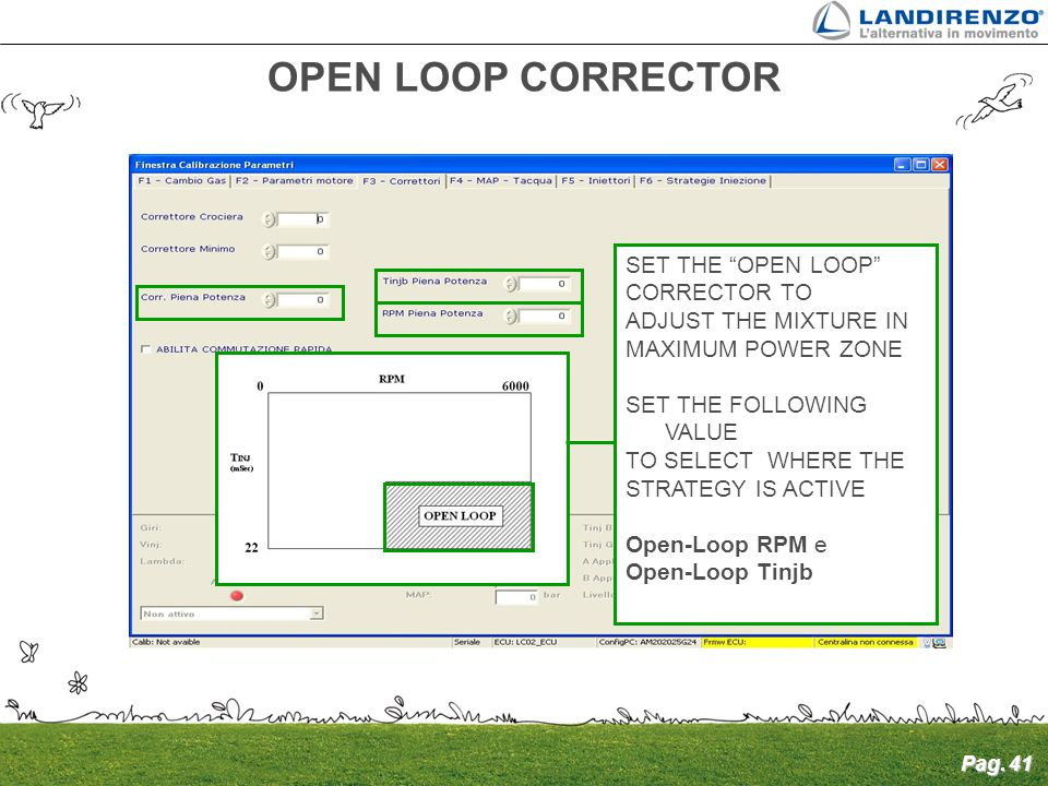 OPEN LOOP CORRECTOR SET THE OPEN LOOP CORRECTOR TO