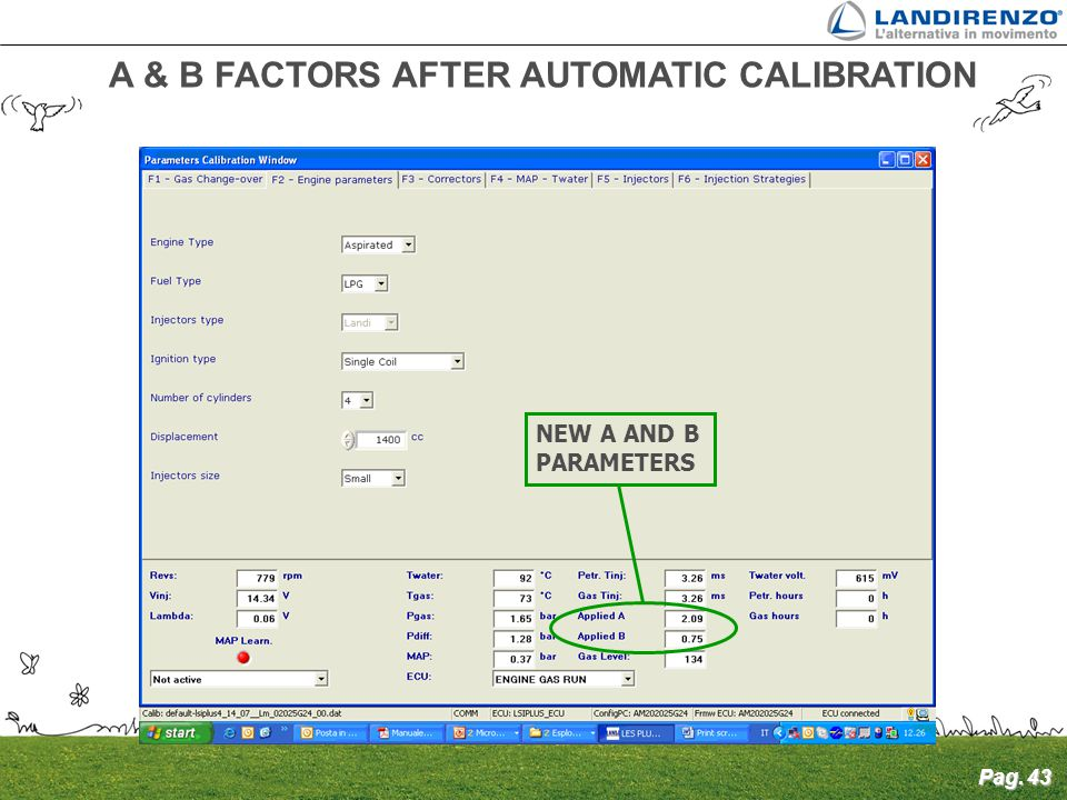 A & B FACTORS AFTER AUTOMATIC CALIBRATION