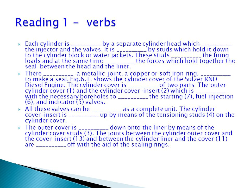 Reading 1 - verbs
