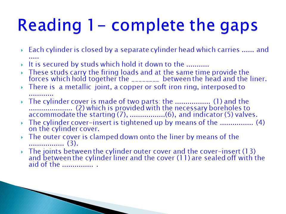 Reading 1- complete the gaps