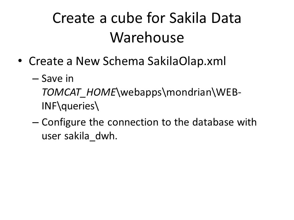 Create a cube for Sakila Data Warehouse