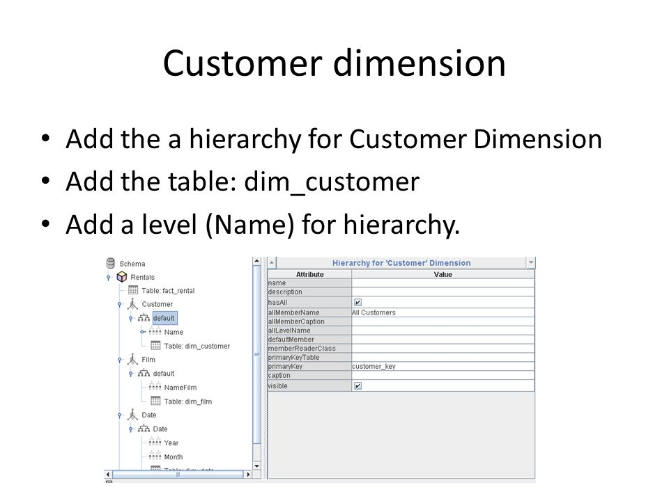 Customer dimension Add the a hierarchy for Customer Dimension