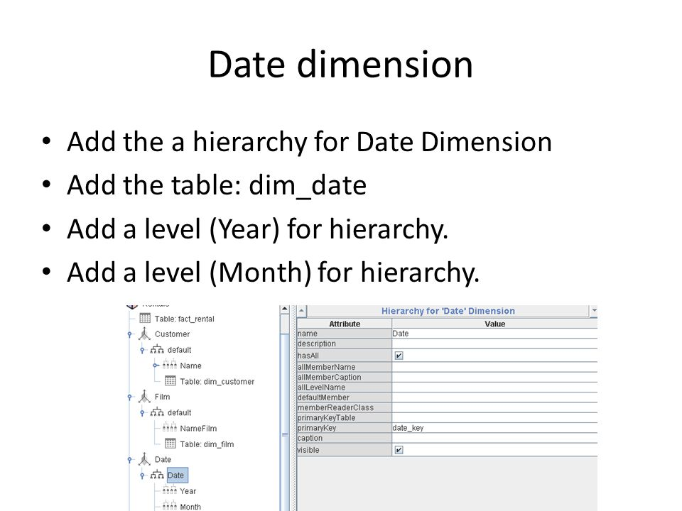 Date dimension Add the a hierarchy for Date Dimension