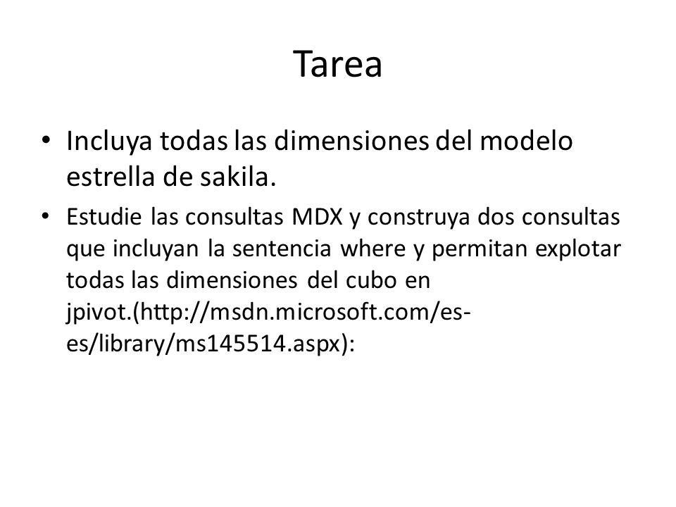 Tarea Incluya todas las dimensiones del modelo estrella de sakila.