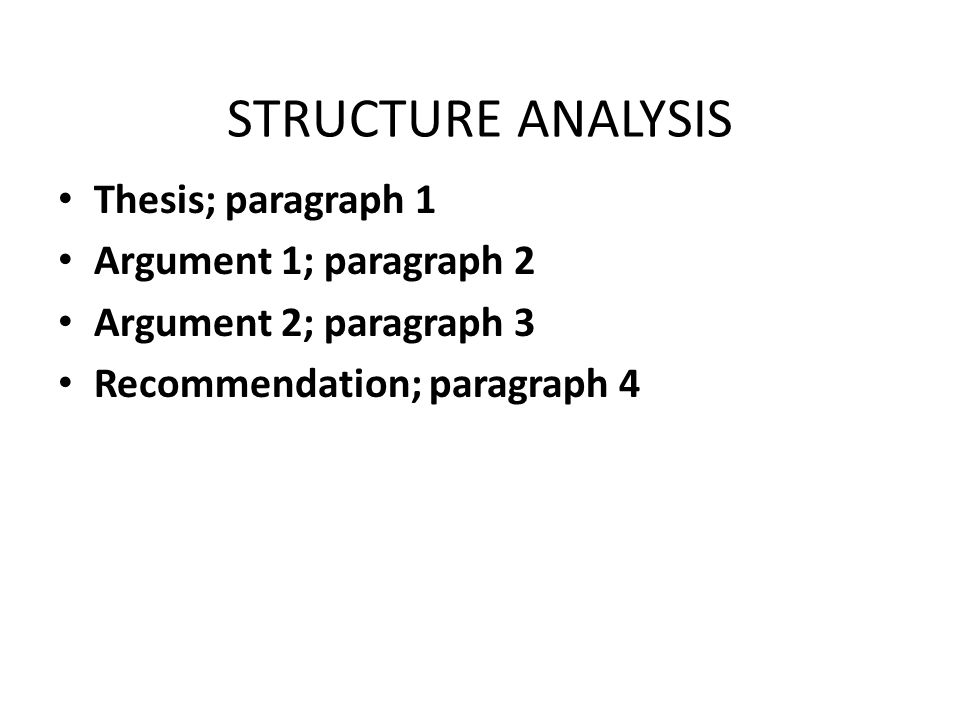STRUCTURE ANALYSIS Thesis; paragraph 1 Argument 1; paragraph 2