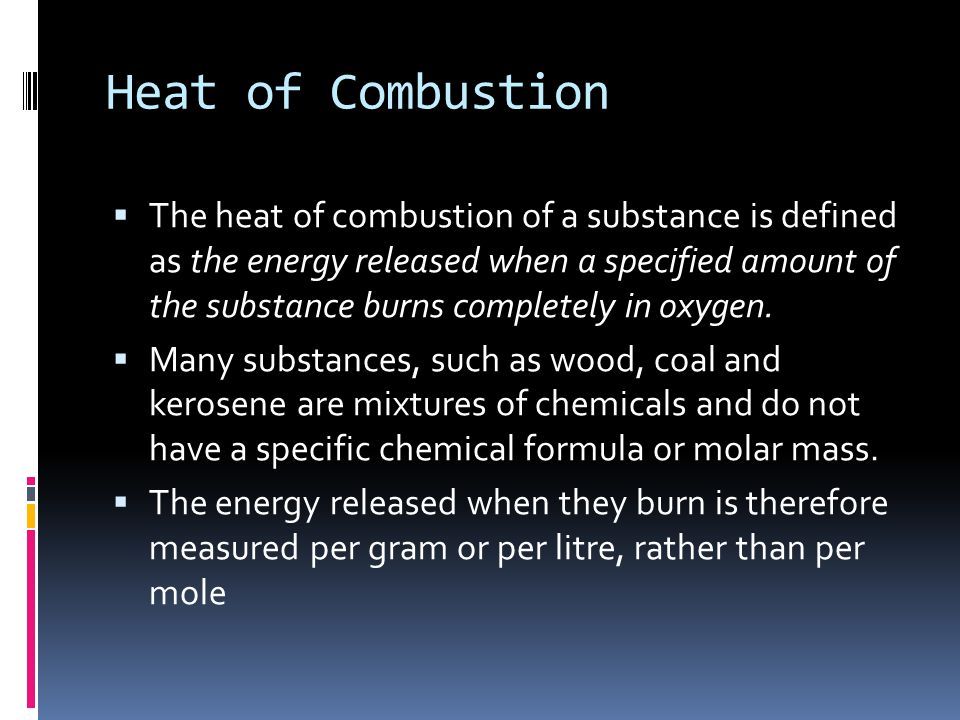 Heat of Combustion