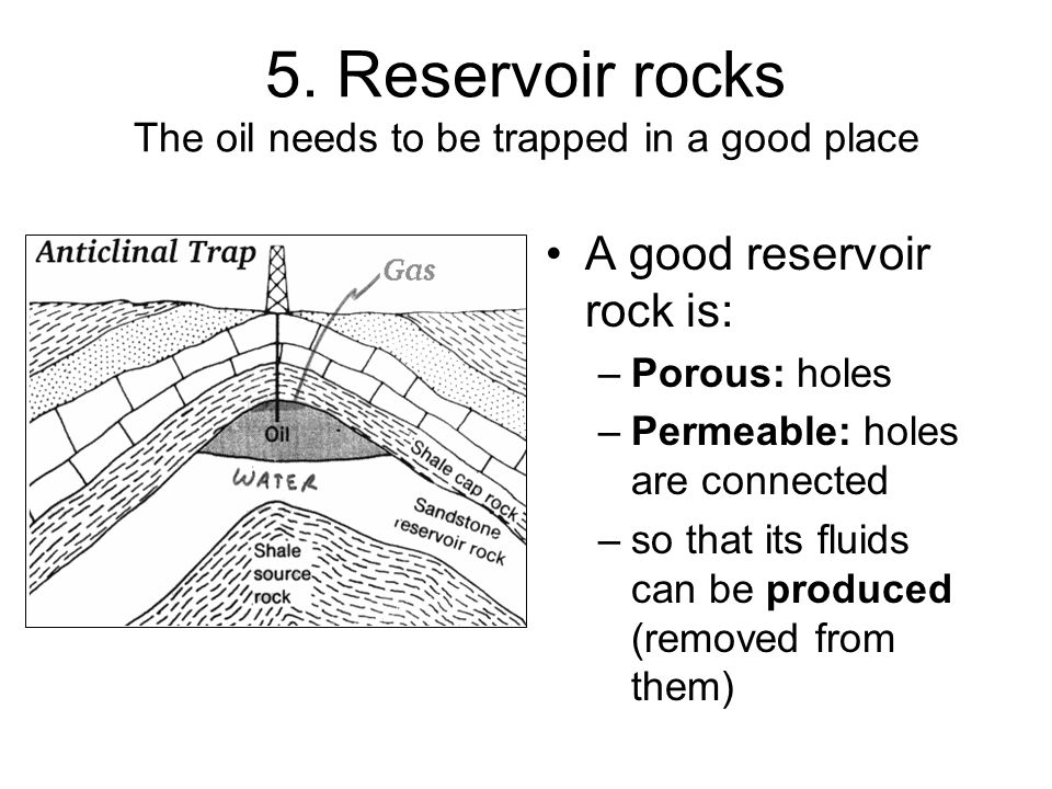 5. Reservoir rocks The oil needs to be trapped in a good place