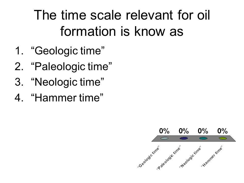 The time scale relevant for oil formation is know as