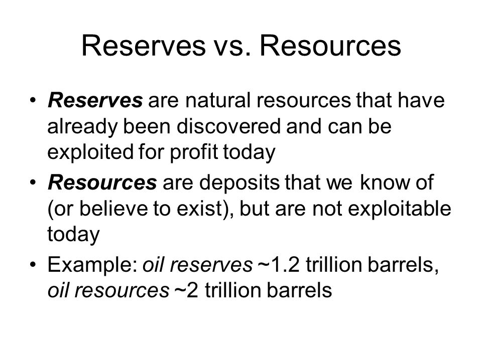 Reserves vs. Resources Reserves are natural resources that have already been discovered and can be exploited for profit today.