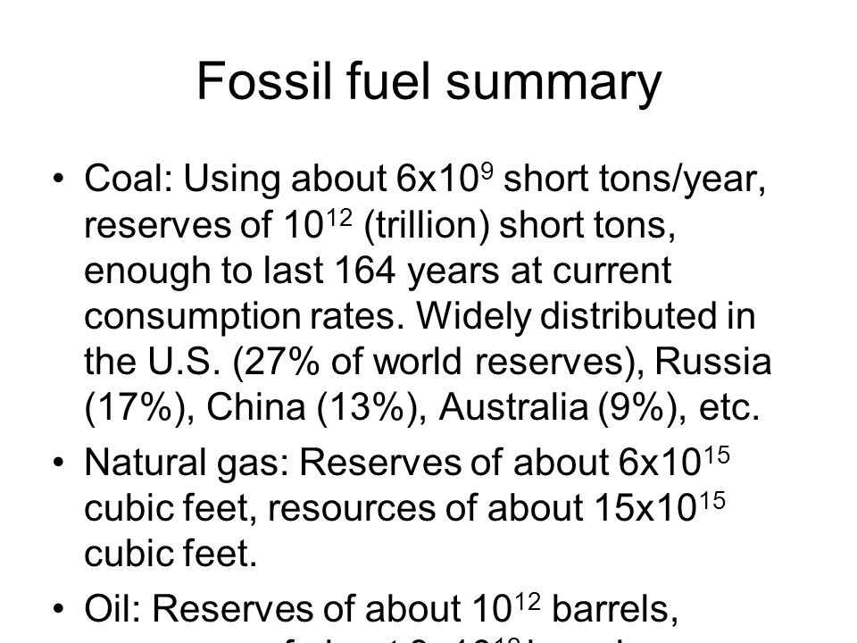 Fossil fuel summary