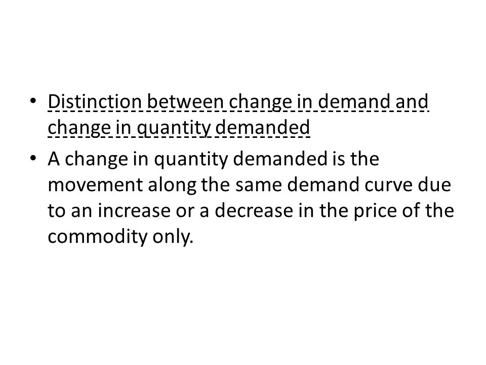 Distinction between change in demand and change in quantity demanded